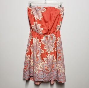 3/$25 Coral Paisley Strapless Dress Sz Small